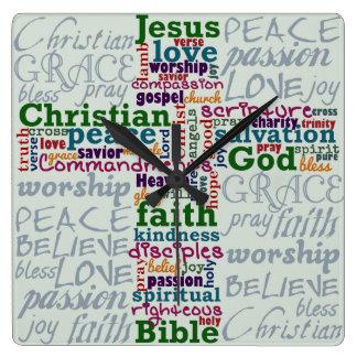 Palabra religiosa cristiana Art Cross Reloj