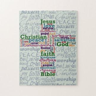 Palabra religiosa cristiana Art Cross Rompecabezas
