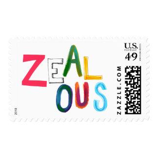 Palabra resuelta confiada apasionada entusiasta sellos postales