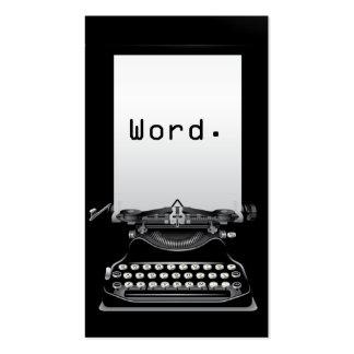 """""""Palabra. """"Tarjeta de visita negra del escritor de"""