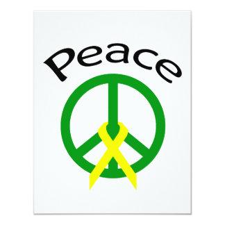 """Palabra verde y cinta de la paz invitación 4.25"""" x 5.5"""""""