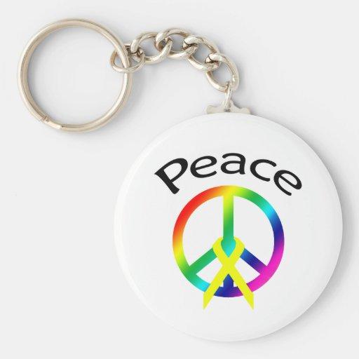 Palabra y cinta de la paz del arco iris llavero redondo tipo pin