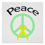 Palabra y cinta de la paz del verde de mar impresiones