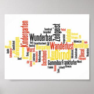 Palabras alemanas en la nube de la palabra de la l póster