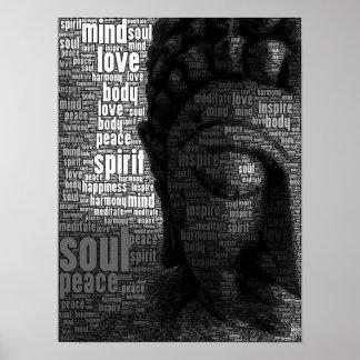 Palabras budistas de la sabiduría póster