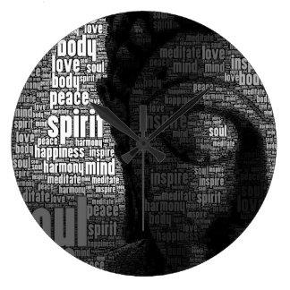 Palabras budistas de la sabiduría reloj redondo grande