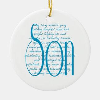 Palabras cariñosas para el hijo adorno navideño redondo de cerámica