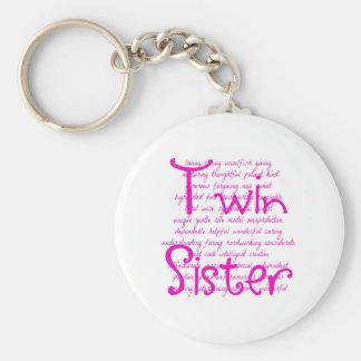 Palabras cariñosas para la hermana gemela llavero redondo tipo pin