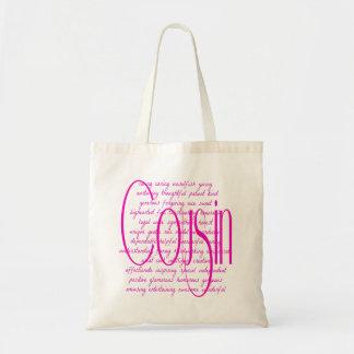 Palabras cariñosas para un primo bolsa tela barata