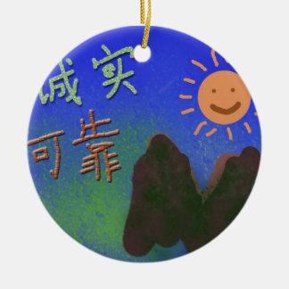 Palabras chinas: 诚实, 可靠 adorno redondo de cerámica