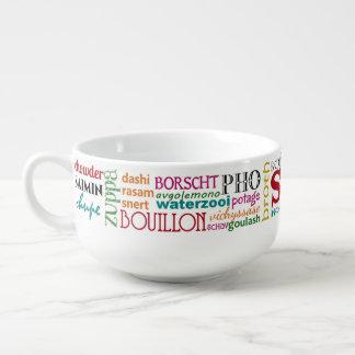 Palabras coloridas de la sopa de alrededor del bol para sopa