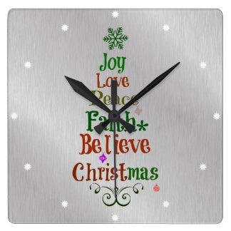 Palabras coloridas del árbol de navidad reloj cuadrado