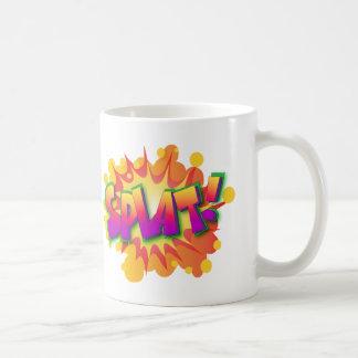 Palabras cómicas de la acción del super héroe de taza de café