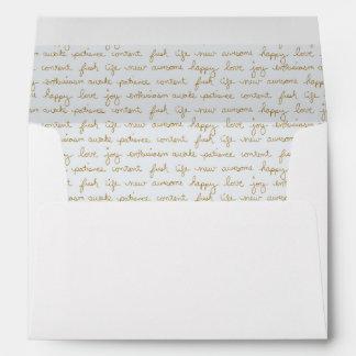 Palabras con guión de la mano del interior de la sobres