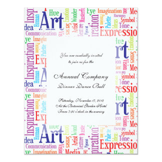 Palabras creativas del artista o del diseñador de invitación personalizada