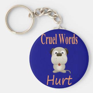 Palabras crueles dañadas llavero redondo tipo pin