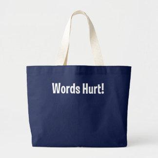 Palabras dañadas bolsa tela grande