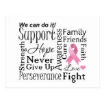 Palabras de apoyo del cáncer de pecho tarjetas postales