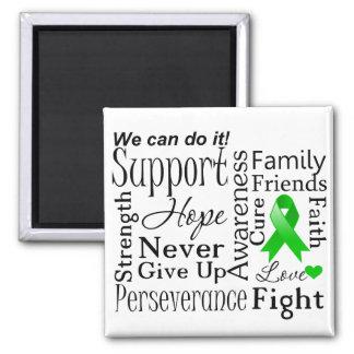 Palabras de apoyo del cáncer del riñón (verde) imán cuadrado