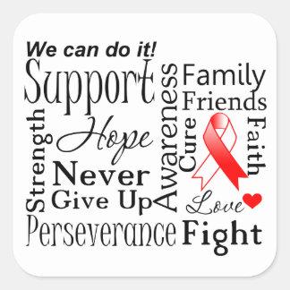Palabras de apoyo del cáncer oral pegatina cuadrada