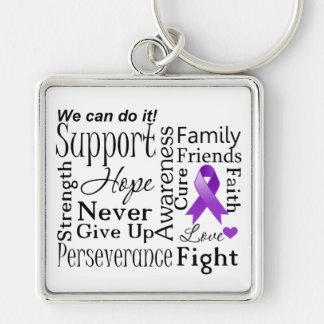 Palabras de apoyo del cáncer pancreático llavero cuadrado plateado