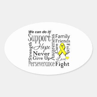 Palabras de apoyo del sarcoma de Ewing Pegatina Ovalada
