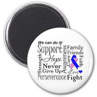 Palabras de apoyo masculinas del cáncer de pecho imán redondo 5 cm