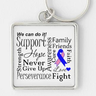 Palabras de apoyo masculinas del cáncer de pecho llavero cuadrado plateado