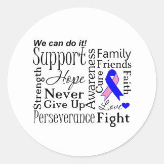 Palabras de apoyo masculinas del cáncer de pecho pegatina redonda
