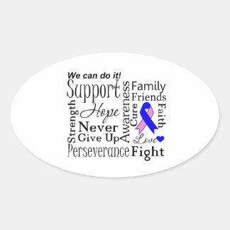 Palabras de apoyo masculinas del cáncer de pecho pegatina ovalada