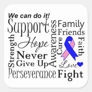 Palabras de apoyo masculinas del cáncer de pecho pegatina cuadrada