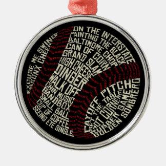 Palabras de argot del béisbol Calligram Adorno Navideño Redondo De Metal