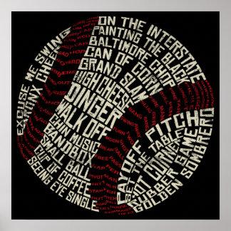 Palabras de argot del béisbol Calligram Póster