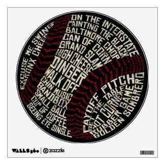 Palabras de argot del béisbol Calligram Vinilo Adhesivo