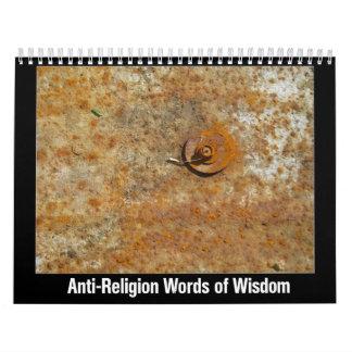 Palabras de la Anti-Religión de la sabiduría Calendarios De Pared