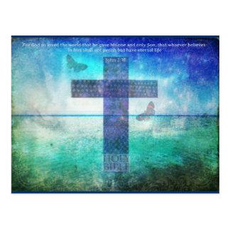 Palabras de la cita de la biblia del 3:16 de Juan  Tarjetas Postales