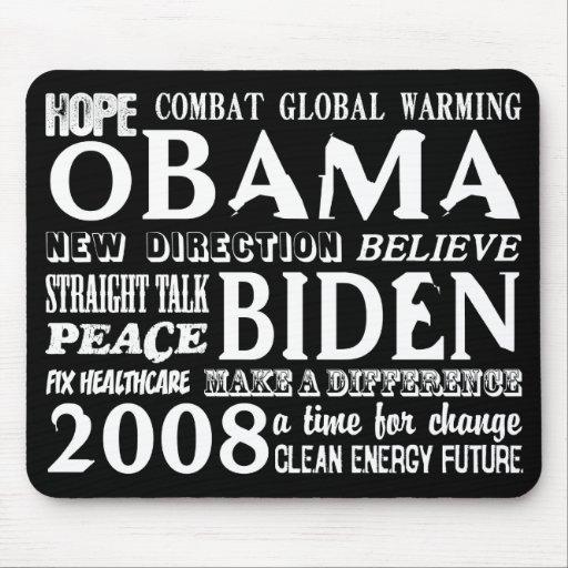 Palabras de la esperanza Obama y Biden Mousepad 20 Alfombrilla De Raton