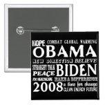 Palabras de la esperanza Obama y del botón 2 de Bi Pins