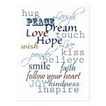 Palabras de la inspiración tarjeta postal