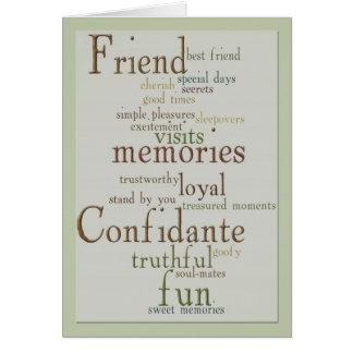 Palabras de la tarjeta de felicitación de la amist