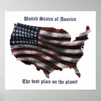 Palabras de los Estados Unidos de América, bandera Posters