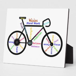 Palabras de motivación de la bici para el ciclo, a placas de plastico