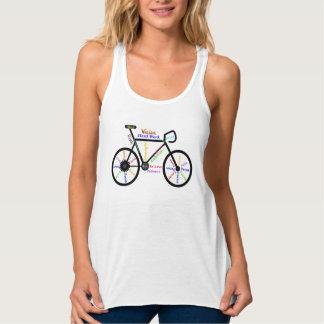 Palabras de motivación de la bicicleta para las playera de tirantes cruzados holgada