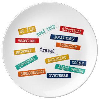 Palabras de motivación del viaje de las vacaciones plato de cerámica