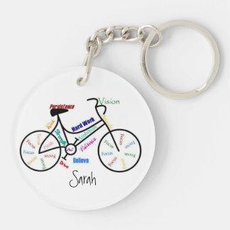 Palabras de motivación para la bici, nombre del llavero redondo acrílico a doble cara