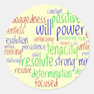 Palabras de motivación por el Año Nuevo, actitud Pegatina Redonda