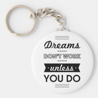 Palabras de motivación sobre sueños y trabajo llavero redondo tipo pin