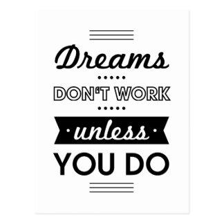 Palabras de motivación sobre sueños y trabajo tarjeta postal