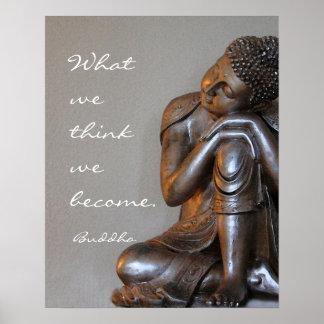 Palabras de plata de reclinación pacíficas de Buda Póster