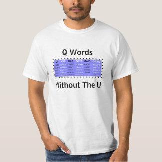Palabras de Q sin el U para los juegos de palabra Remera